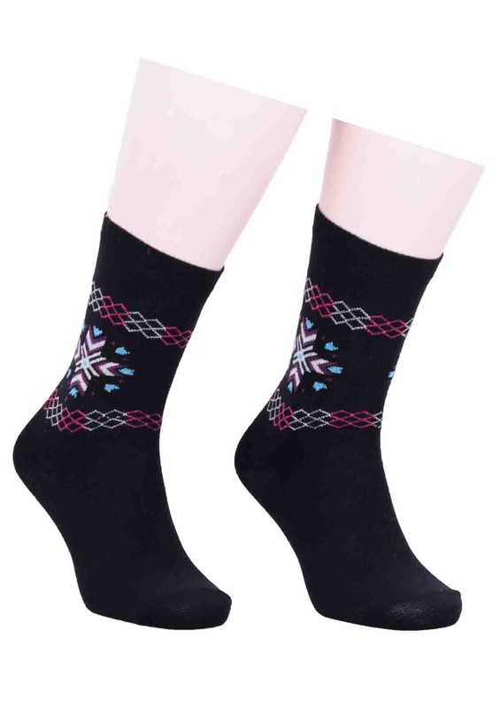 SİMİSSO - Simisso Desenli Çorap 580 | Siyah