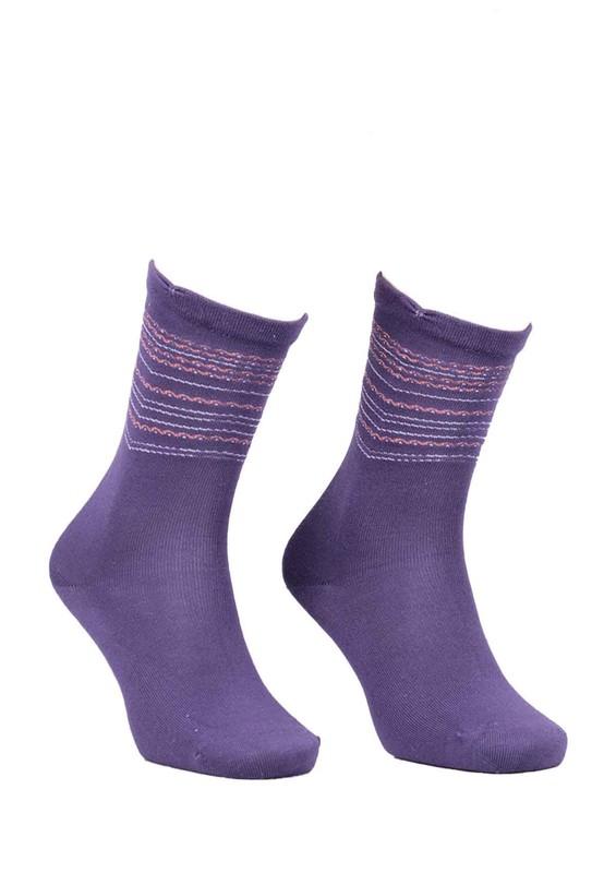 SİMİSSO - Desenli Dikişsiz Çorap 117 | Eflatun