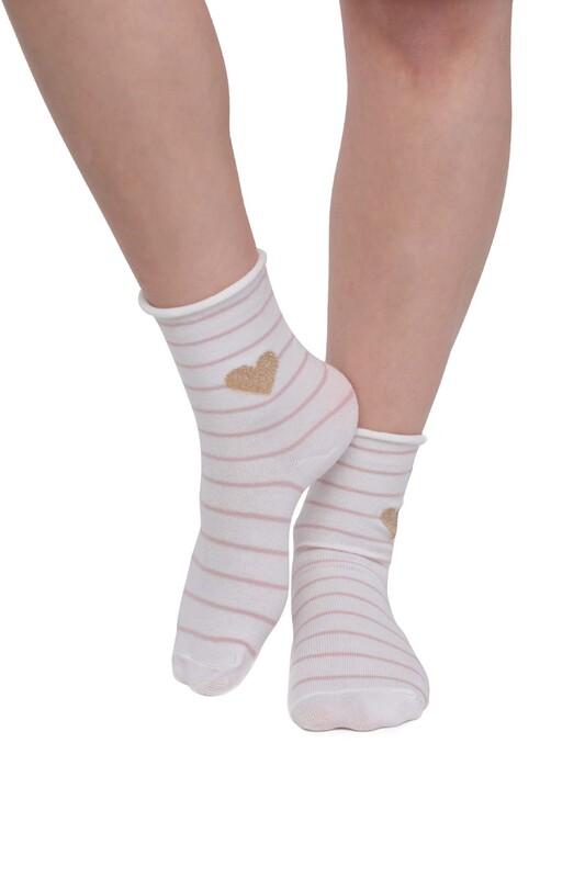 SİMİSSO - Kalp Desenli Kadın Çorap | Beyaz