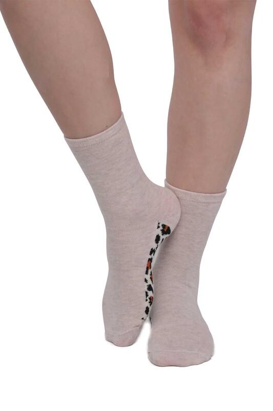 SİMİSSO - Leopar Desenli Kadın Soket Çorap | Krem