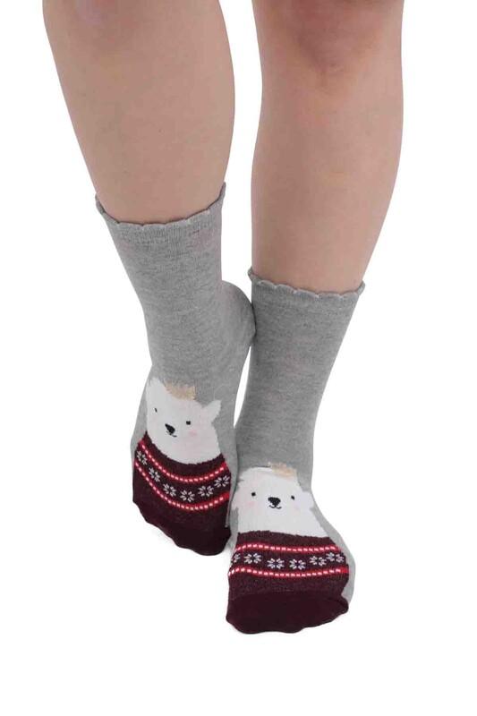 SİMİSSO - Ayı Desenli Kadın Çorap   Gri