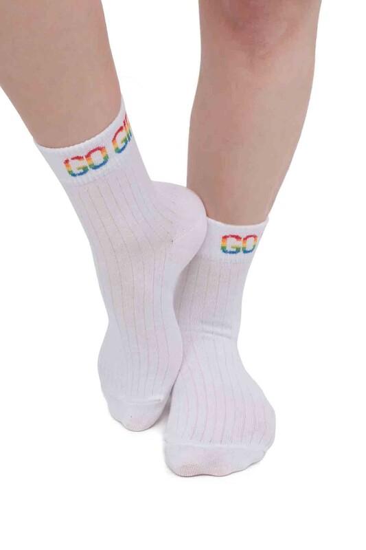 SİMİSSO - Yazı Desenli Kadın Soket Çorap | Beyaz