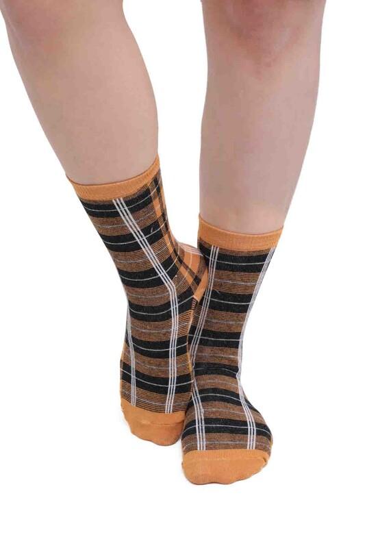 SİMİSSO - Desenli Kadın Soket Çorap 957   Hardal