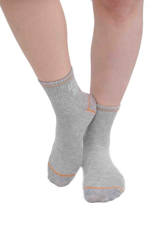 SİMİSSO - Yazı Desenli Kadın Soket Çorap | Gri