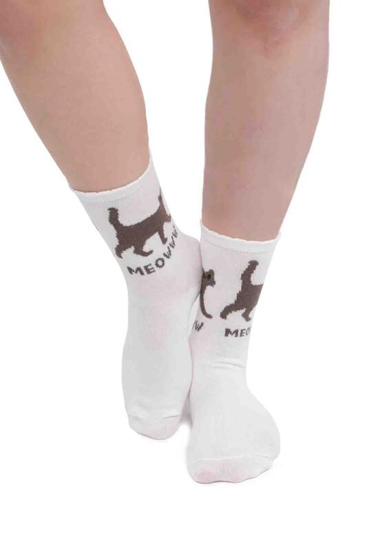 SİMİSSO - Kedi Desenli Kadın Soket Çorap | Beyaz