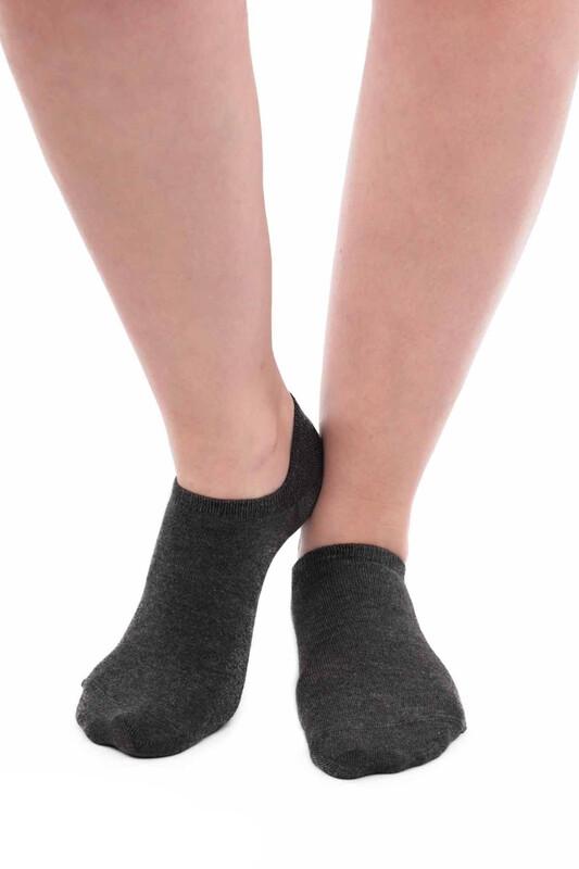 SİMİSSO - Pola Bambu Sneakers Kadın Çorap   Füme
