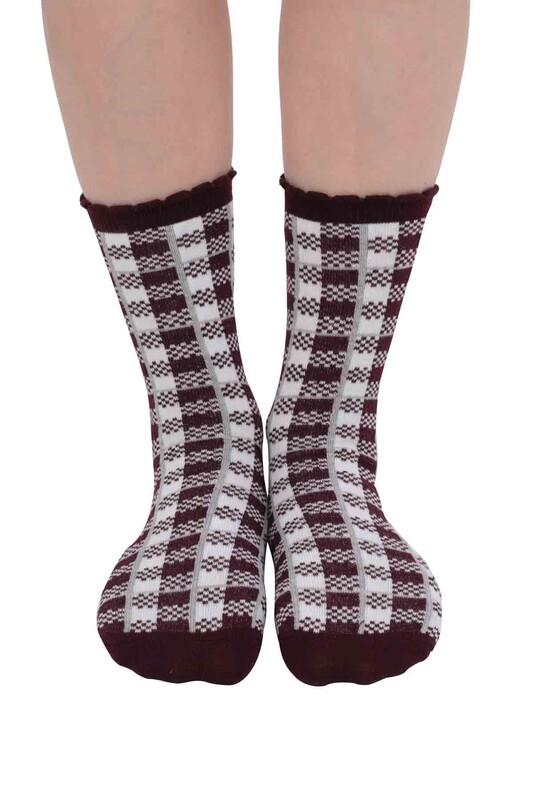 SİMİSSO - Kare Desenli Kadın Soket Çorap   Bordo