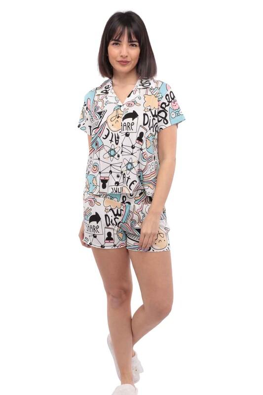 ARCAN - Arcan Desenli Kısa Kollu Gömlek Pijama Takımı 3'lü 80119-1 | Beyaz