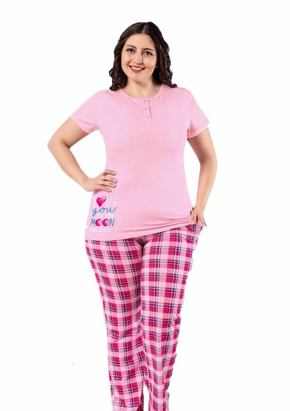 AYDOĞAN - Kısa Kollu Desenli Büyük Beden Pijama Takımı 9674 | Pembe