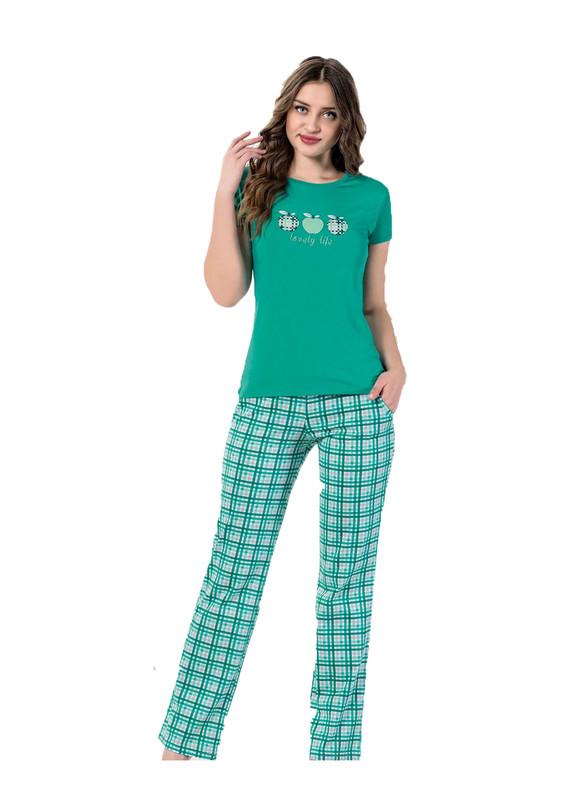 AYDOĞAN - Aydoğan Boru Paçalı Desenli Pijama Takımı 9315   Yeşil