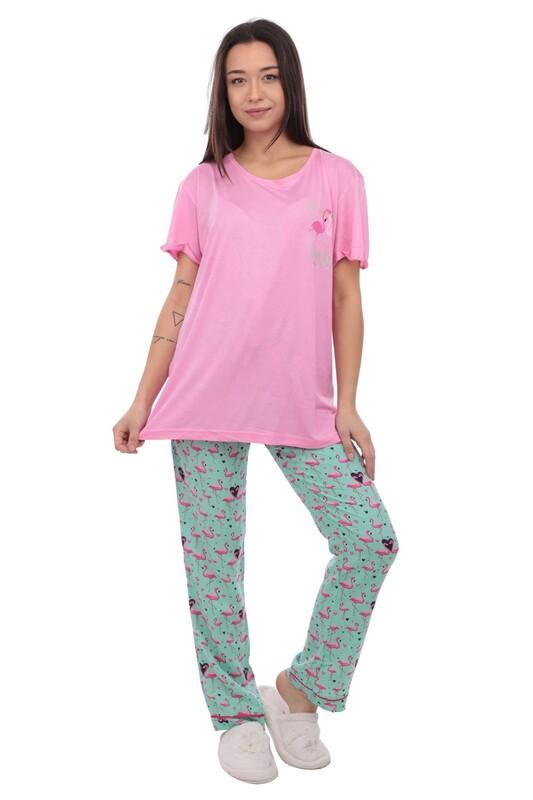 AYDOĞAN - Aydoğan Flamingo Baskılı Poplin Kadın Pijama Takımı 9003 | Pembe