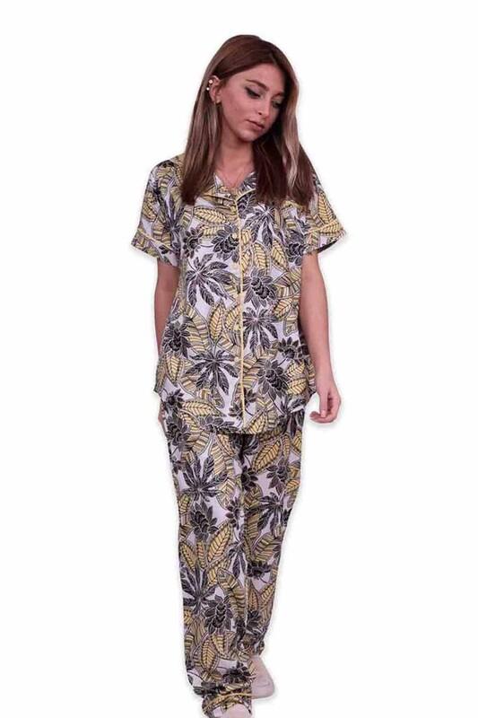 AYDOĞAN - Aydoğan Desenli Poplin Gömlek Kadın Pijama Takımı 14035 | Sarı