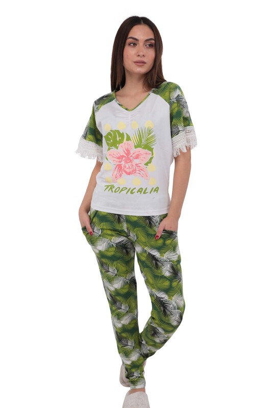 BERRAK - Berrak Dar Paçalı Kolları Güpür Detaylı Desenli Yeşil-Beyaz Pijama Takımı 278 | Beyaz
