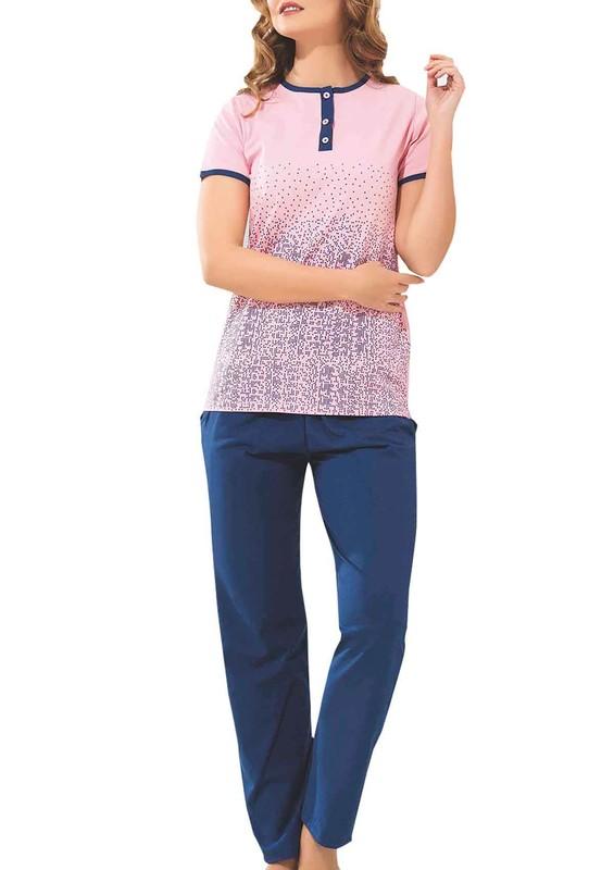 BYDON - ByDon Kısa Kollu Desenli Pudra-Lacivert Pijama Takımı 9141 | Pembe