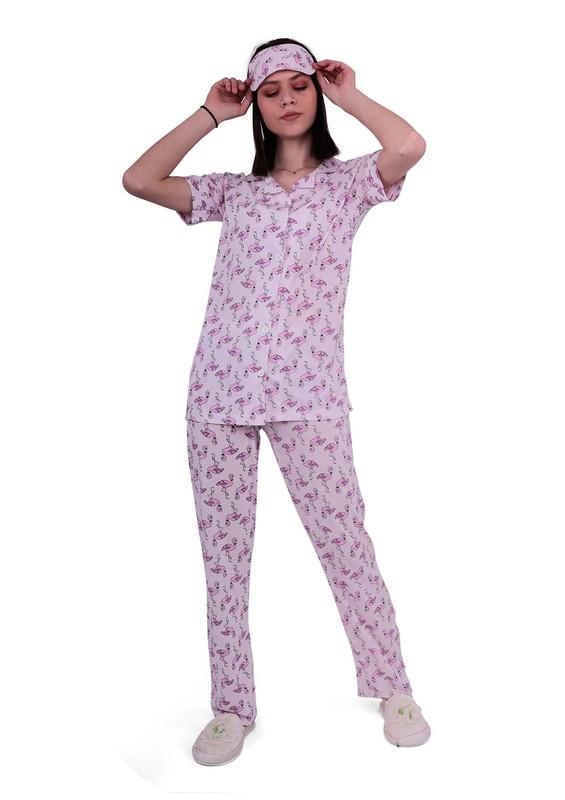 CALİMERA - Calimera Uyku Gözlüklü Desenli Düğmeli Lila Pijama Takımı 1601 | Pembe