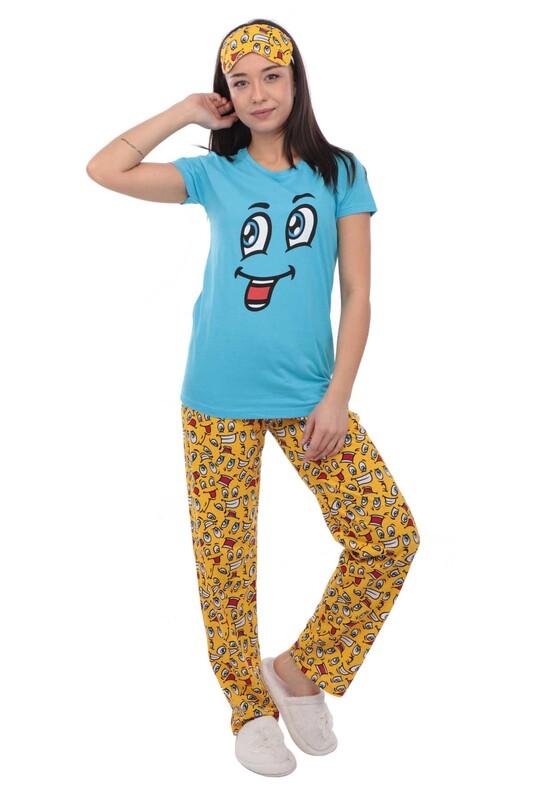 CALİMERA - Calimera Emoji Desenli Kısa Kollu Uyku Gözlüklü Kadın Pijama Takımı 2649 | Mavi