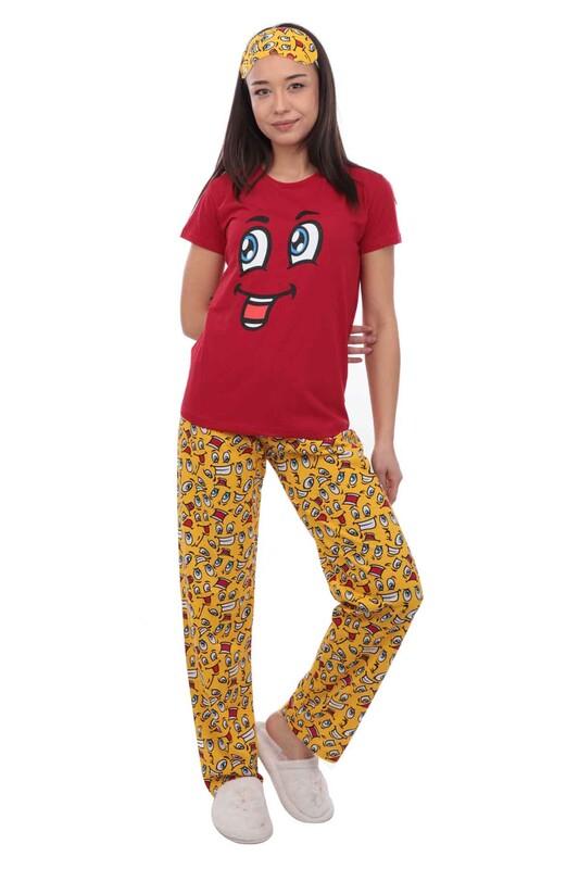 CALİMERA - Calimera Emoji Desenli Kısa Kollu Uyku Gözlüklü Kadın Pijama Takımı 2649 | Kırmızı
