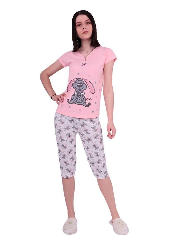 ERCAN - Ercan Kısa Kollu Desenli Kapri Pudra Pijama Takımı 2802 | Pembe