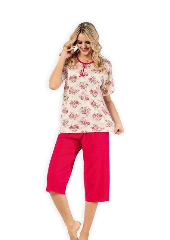 GLISA - Glisa Çiçek Desenli Kapri Pijama Takımı | Kırmızı