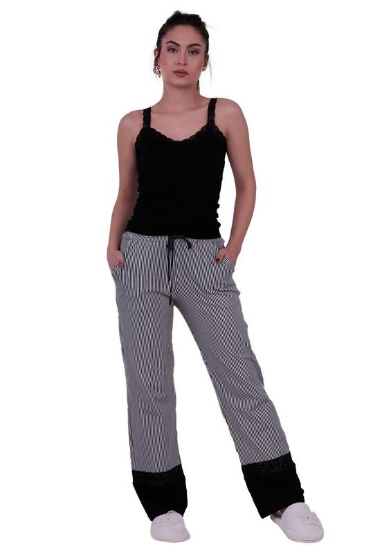 JİBER - Jiber Kadın Dantelli Pijama Takımı 3639 | Siyah