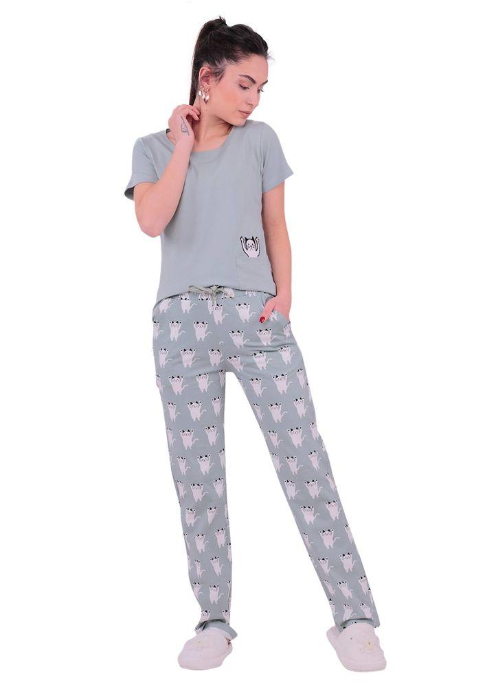 Jiber Kedi Desenli Kısa Kollu Kadın Pijama Takımı 3615 | Yeşil