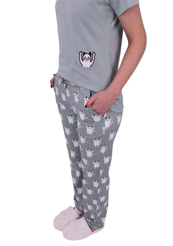Jiber Kedi Desenli Kısa Kollu Kadın Pijama Takımı 3615 | Yeşil - Thumbnail