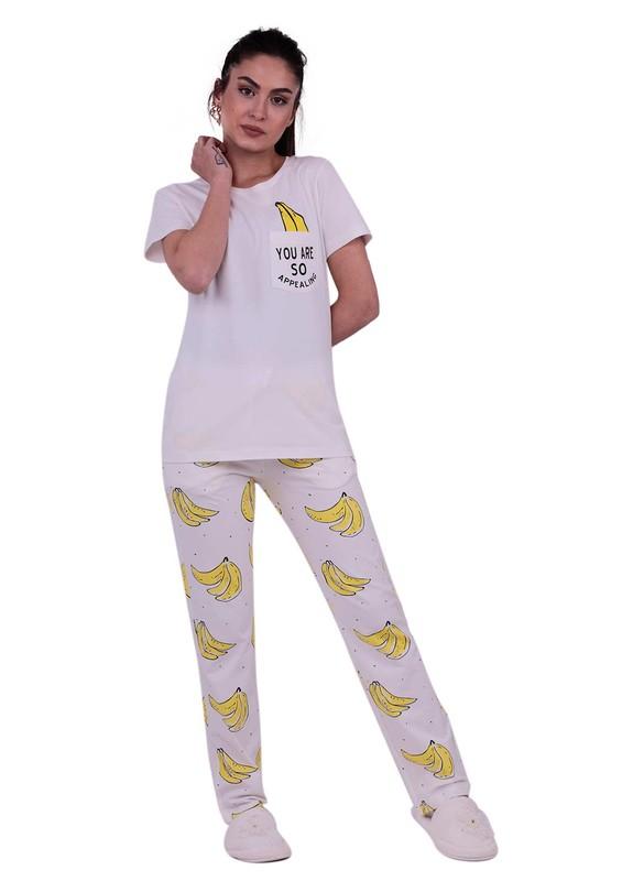 JİBER - Jiber Kadın Kısa Kollu Pijama Takımı 3637 | Beyaz