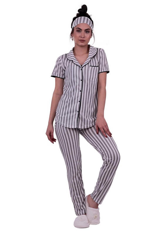 Snc Çizgili Gömlek Pijama Takımı 8002   Gri - Thumbnail