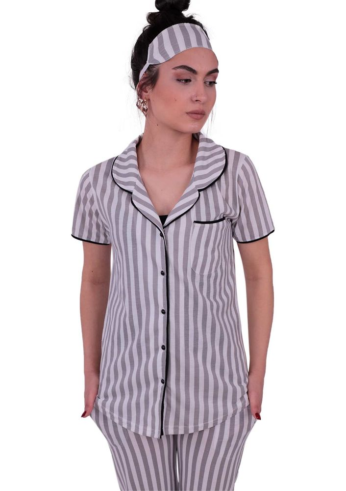 Snc Çizgili Gömlek Pijama Takımı 8002   Gri