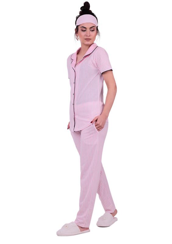 Snc Çizgili Gömlek Pijama Takımı 8002 | Pembe - Thumbnail