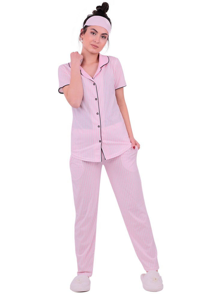Snc Çizgili Gömlek Pijama Takımı 8002 | Pembe