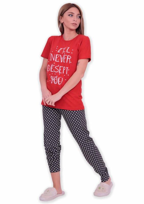 SUDE - Sude Yazı Baskılı Kısa Kollu Pijama Takımı   Kırmızı