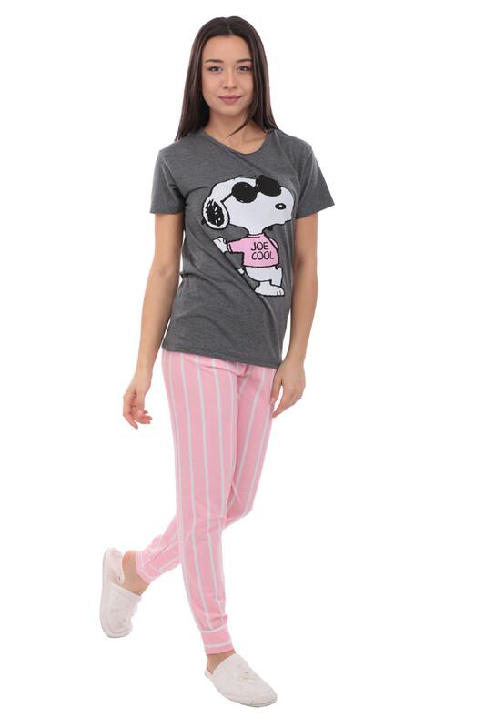 SUDE - Sude Baskılı Kısa Kollu Pijama Takımı   Füme