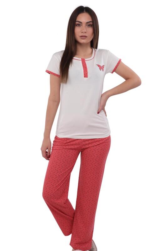 SUDE - Sude Kısa Kollu Desenli Pijama Takımı 2234 | Nar Çiçeği