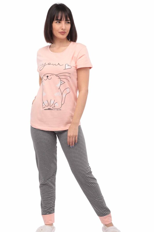 SUDE - Sude Kedi Baskılı Kısa Kollu Pijama Takımı 2916 | Yavru Ağzı