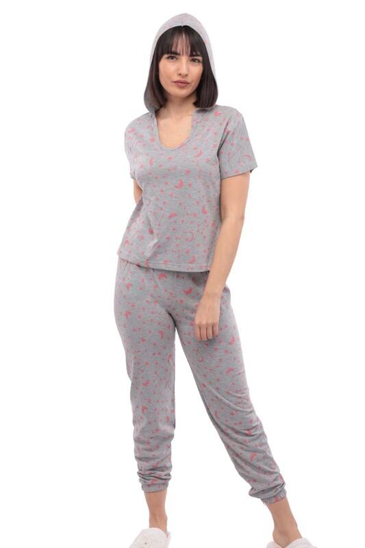 SUDE - Sude Kısa Kollu Kapüşonlu Pijama Takımı 2011 | Gri
