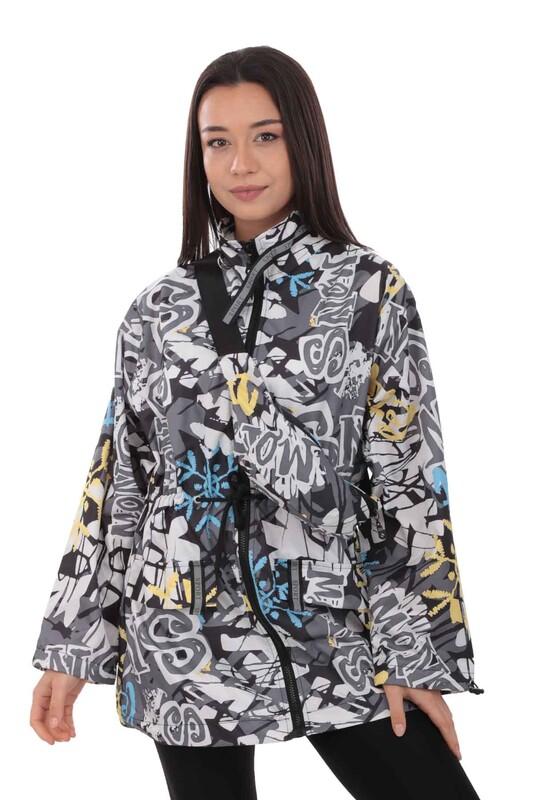 SİMİSSO - Desenli Bel Çantalı Kadın Mont 9619 | Siyah