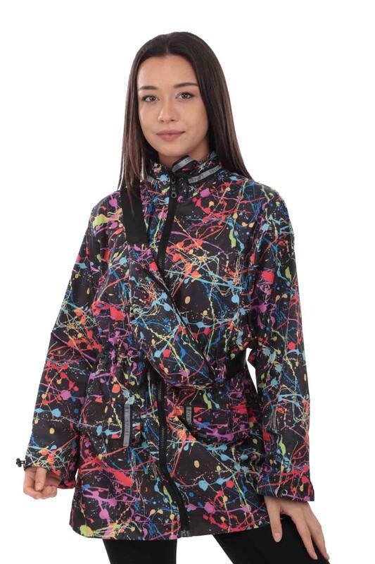 SİMİSSO - Desenli Bel Çantalı Kadın Mont 9620 | Siyah