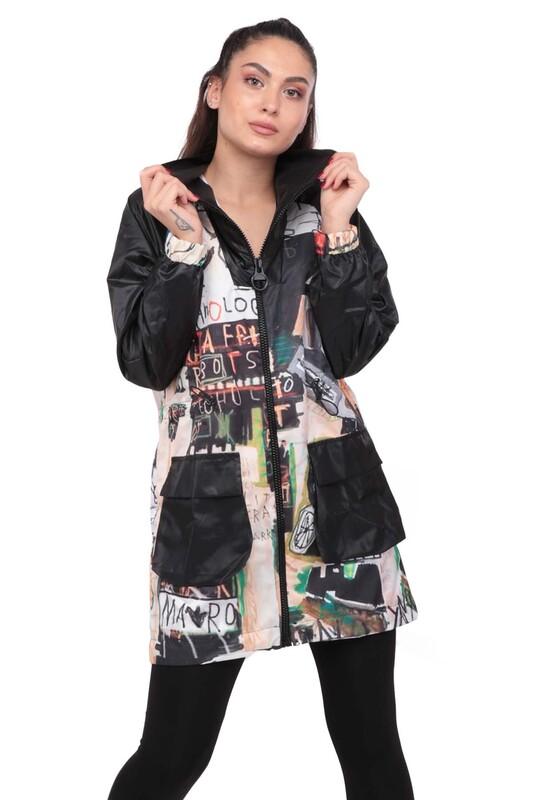 SİMİSSO - Desenli Kadın Mont 9622 | Siyah