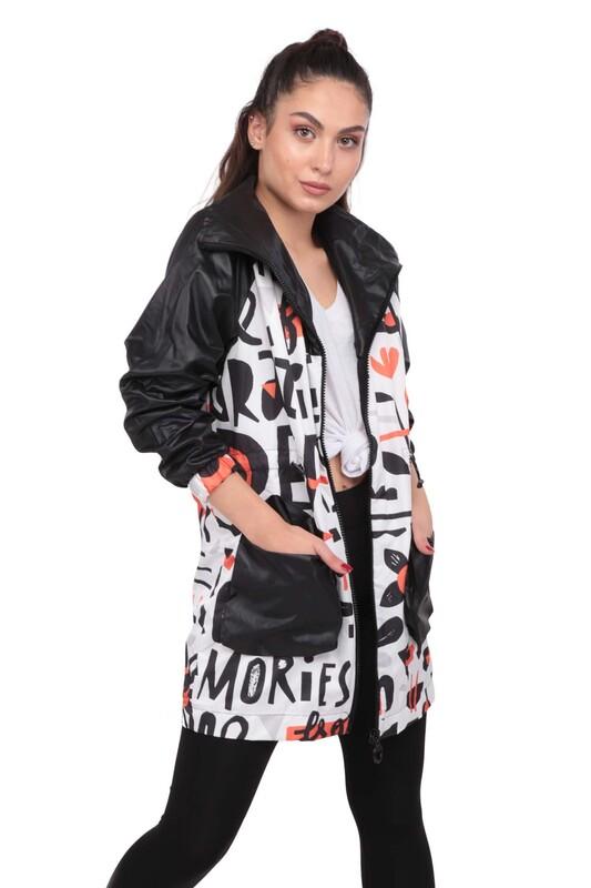 SİMİSSO - Desenli Kadın Mont 9623 | Siyah