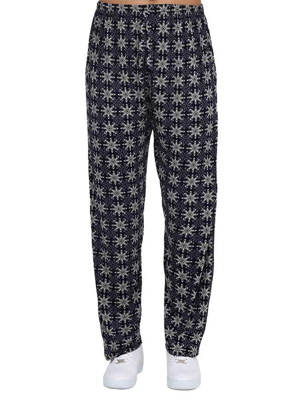 DOĞAN - Boru Paçalı Çiçek Desenli Pantolon 319   Lacivert