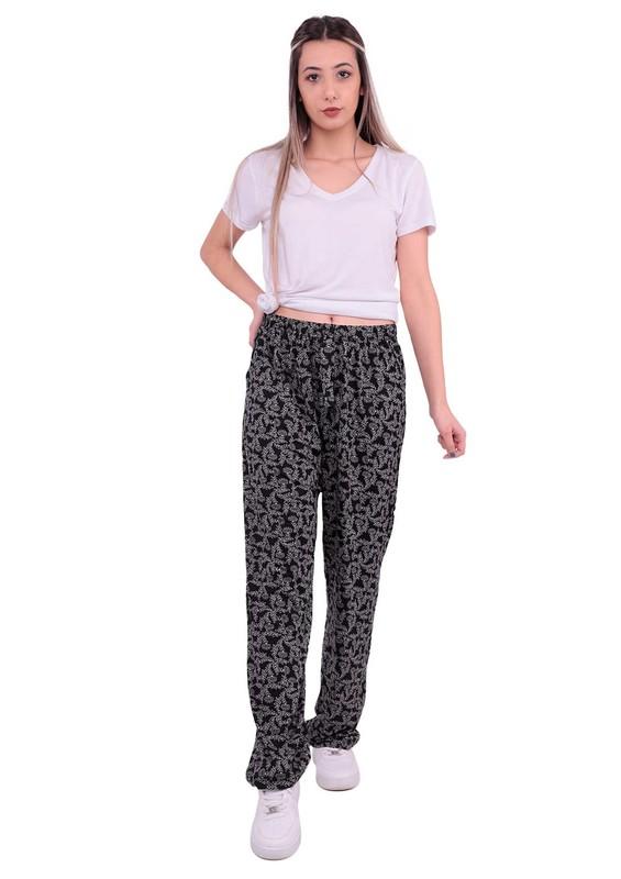 DOĞAN - Bol Paçalı Çiçek Desenli Kurdeleli Pantolon   Siyah