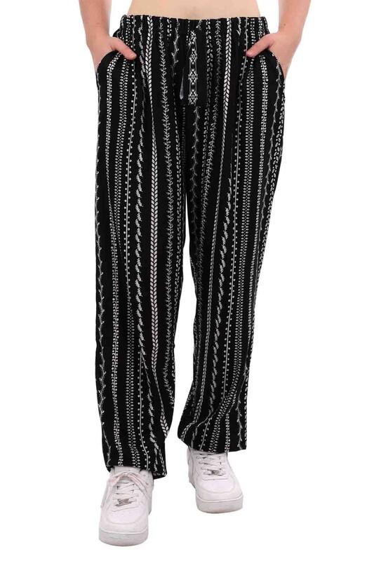 DOĞAN - Doğan Desenli Battal Süet Pantolon 21640   Siyah