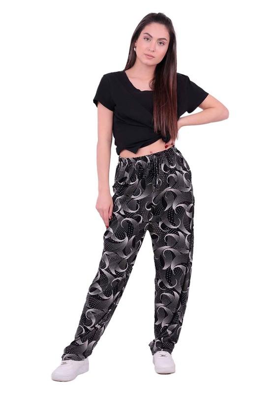 SİMİSSO - Desenli Battal Viskon Pantolon 31434   Siyah