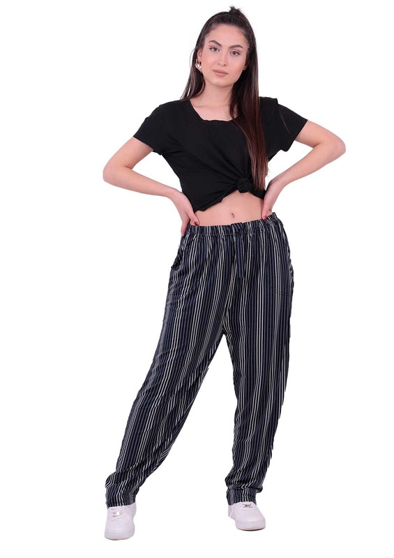 SİMİSSO - Çizgili Büyük Beden Viskon Pantolon   Siyah