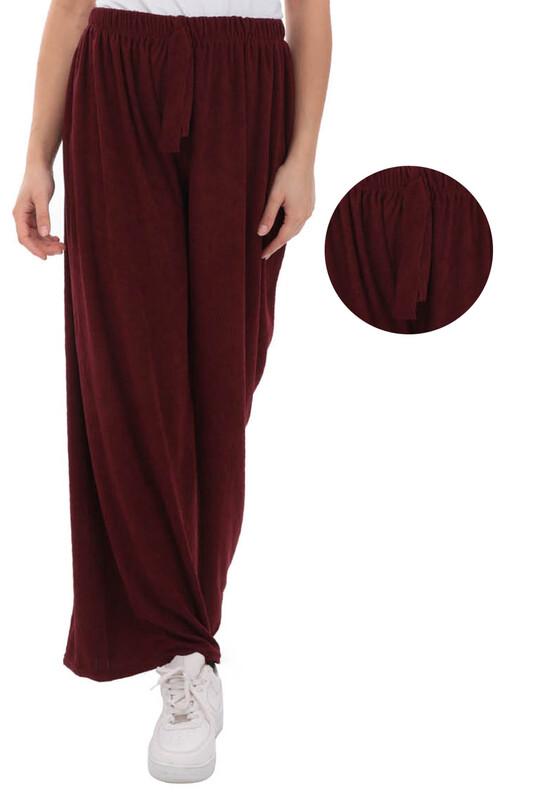 SİMİSSO - Kadın Bol Paça Fitilli Pantolon | Bordo