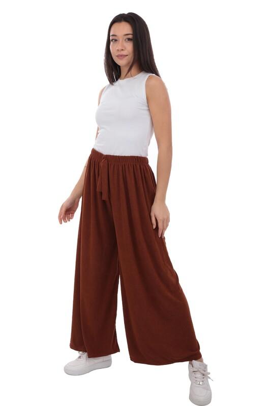 SİMİSSO - Kadın Bol Paça Fitilli Pantolon | Hardal
