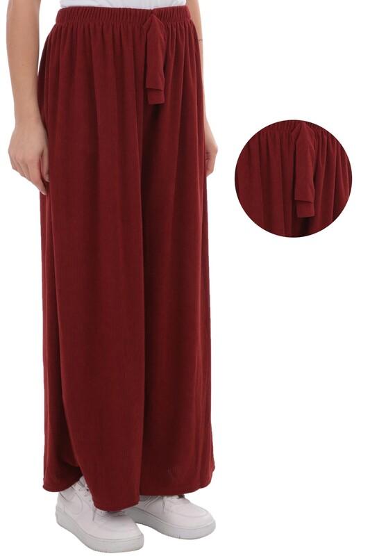 SİMİSSO - Kadın Bol Paça Fitilli Pantolon | Kiremit