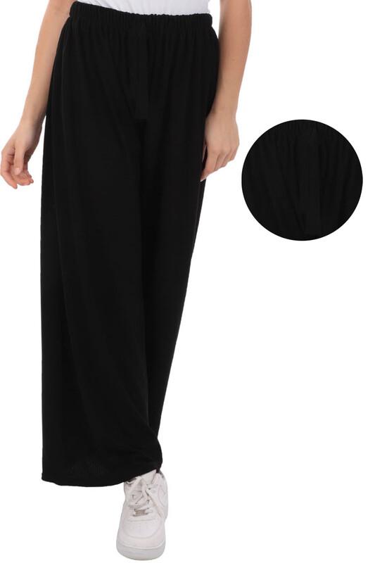 SİMİSSO - Kadın Bol Paça Fitilli Pantolon | Siyah