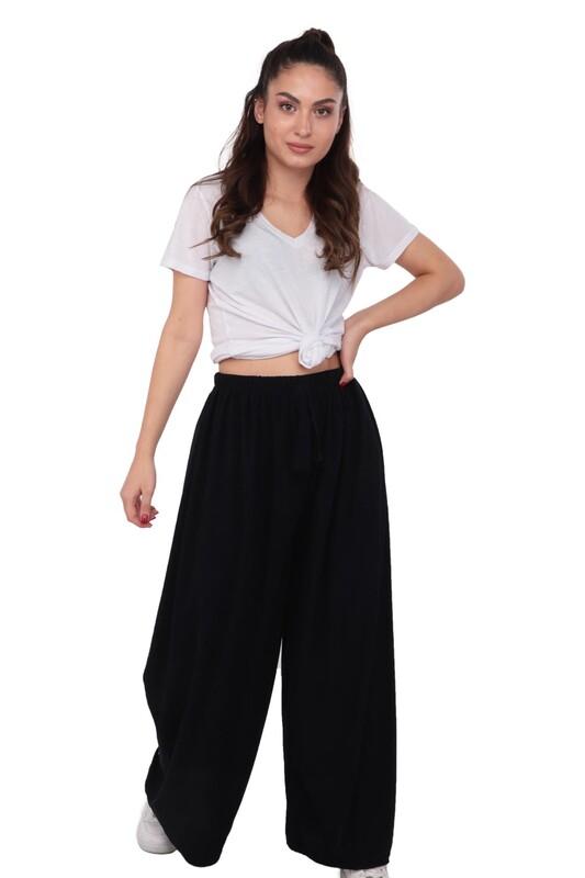 SİMİSSO - Kadın Bol Paça Fitilli Pantolon | Lacivert